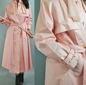 1960s Pink Spy Trench Coat Vintage Small/Medium